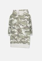 Cotton On - Viola long sleeve hood dress - green & grey