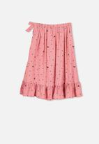 Cotton On - Ria ruffle midi skirt - pink