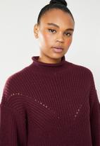 Superbalist - Funnel neck knit with side slits - burgundy