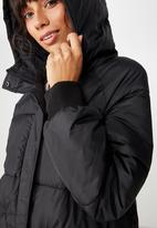 Cotton On - Longline active puffer - black