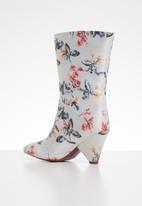 Plum - Floral print boot - light grey