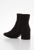 ALDO - Faux suede ankle boot - black