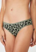 Cotton On - Leopard cotton flat elastic bikini brief  - khaki