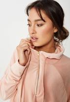 Cotton On - Luxe half zip  - pink