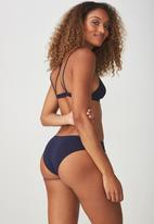 Cotton On - Cotton flat elastic cheeky bikini - navy