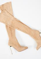 Plum - Thigh high boot  - brown