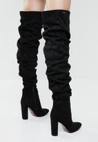 Plum - Ruched over the knee boot - black