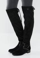 Plum - Knee length boot - black