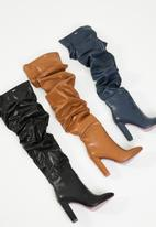 c02ed7468581 Kelly ruched over the knee block heel boot - tan Plum Boots ...
