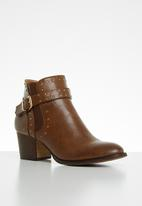 Plum - Studded ankle boot - brown