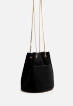 MANGO - Chain leather bag - black