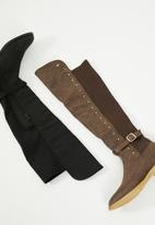 Miss Black - Over the knee boot - chocolate