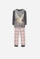 Cotton On - Alicia long sleeve girls photo unicorn pyjama set - navy & pink