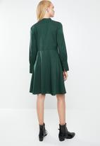 MANGO - Satin finish neck tie dress- green