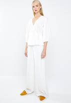MANGO - Striped wrap blouse - off white