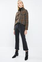 MANGO - Wool blend check shirt - brown