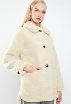 MANGO - Teddy coat - cream