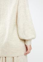 MANGO - Long line knit - cream
