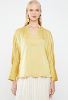 MANGO - Drape satin blouse - yellow