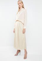 MANGO - Satin finish self stripe midi skirt - neutral
