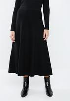 MANGO - Knitted flared midi skirt - black