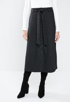 MANGO - Button down flare skirt - black