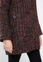 MANGO - Flecked wool-blend coat - burgundy