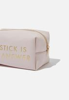 Typo - Made up lipstick is the answer cosmetic bag - pink & gold