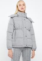 MANGO - Wool blend quilted puffer jacket - grey