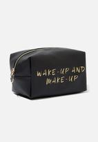 Typo - Made up wake up make up cosmetic bag - black & gold