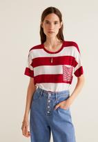 MANGO - Chest-pocket striped T-shirt - red & white