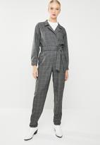MANGO - Long check jumpsuit - grey