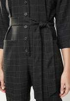 MANGO - Bow 3/4 sleeve jumpsuit - black