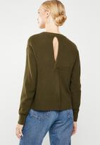 MANGO - Back vent knit - khaki