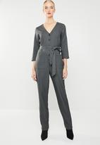 MANGO - Bow 3/4 sleeve jumpsuit - charcoal