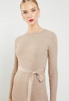 MANGO - Ribbed knitted midi dress - beige