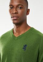 Pringle of Scotland - Charleston V-neck knit - green