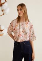 MANGO - Floral T-shirt - pink