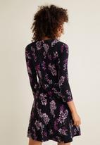 MANGO - Front tie textured dress - black & purple