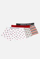 Brave Soul - Cherry printed 3 pack boxers - multi