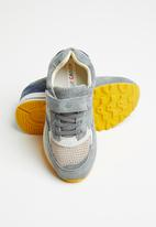 POP CANDY - Leather combo strap and lace sneaker - grey
