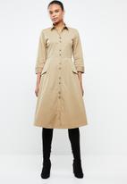 MANGO - Midi utility shirt dress - beige
