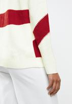 MANGO - Contrast knitted sweater - cream & red