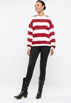 MANGO - Striped sweatshirt - red & cream