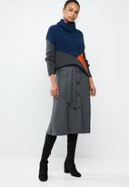 MANGO - Button down flare skirt - grey