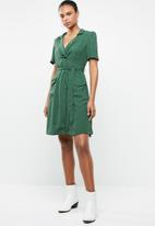MANGO - Printed shirt dress - green & white