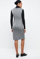 MANGO - Check midi shift dress - grey