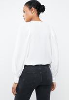 MANGO - Metallic ring keyhole blouse - off white