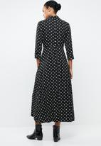 MANGO - Spotted maxi shirt dress - black