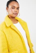 MANGO - Unstructured wool blend coat - yellow